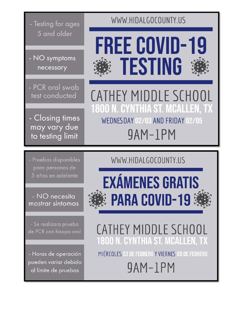Free COVID-19 testing Wed. & Friday at Cathey MS