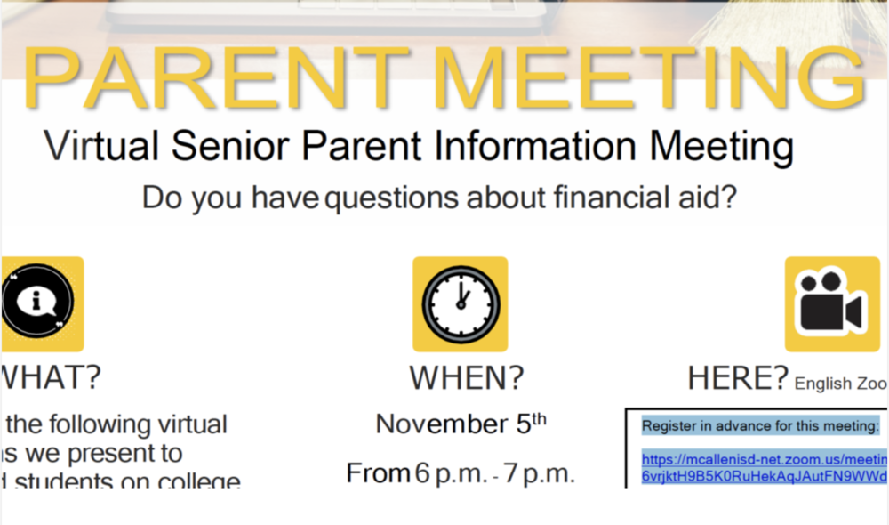 Senior parent info meeting set for Nov. 12