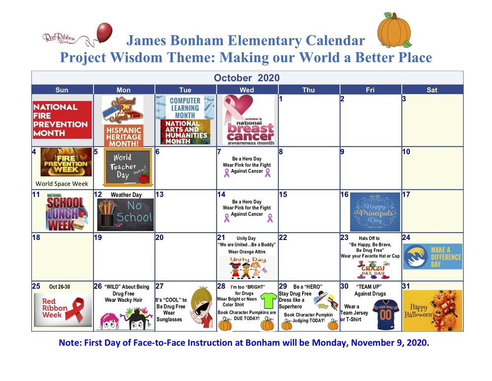 Bonham October 2020 Calendar