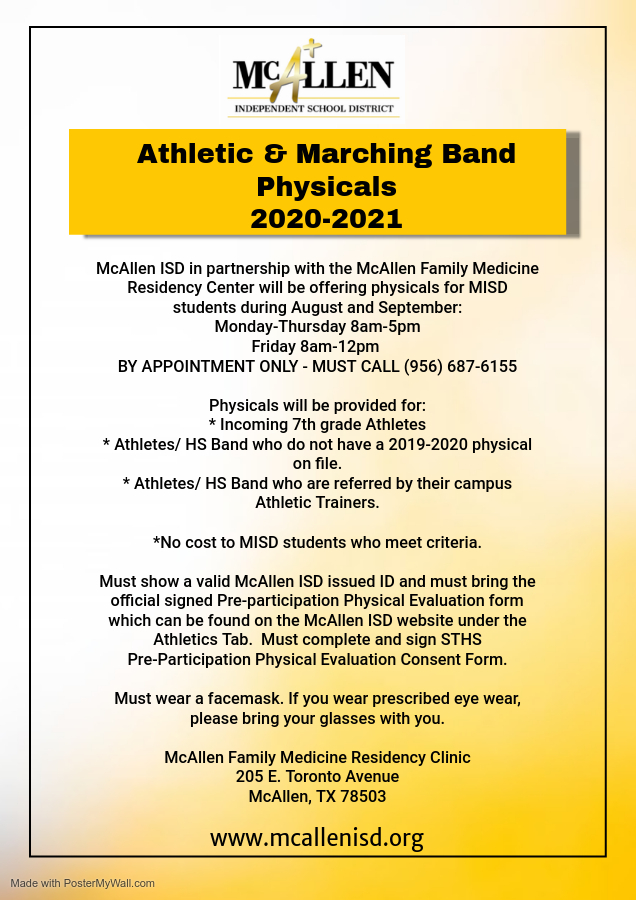 Athletic and Marching Band Physicals