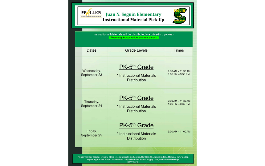Instructional Materials Pick-Up