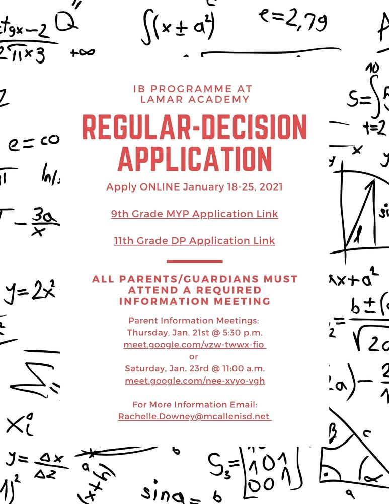 Regular Decision Application - IB @ Lamar Academy