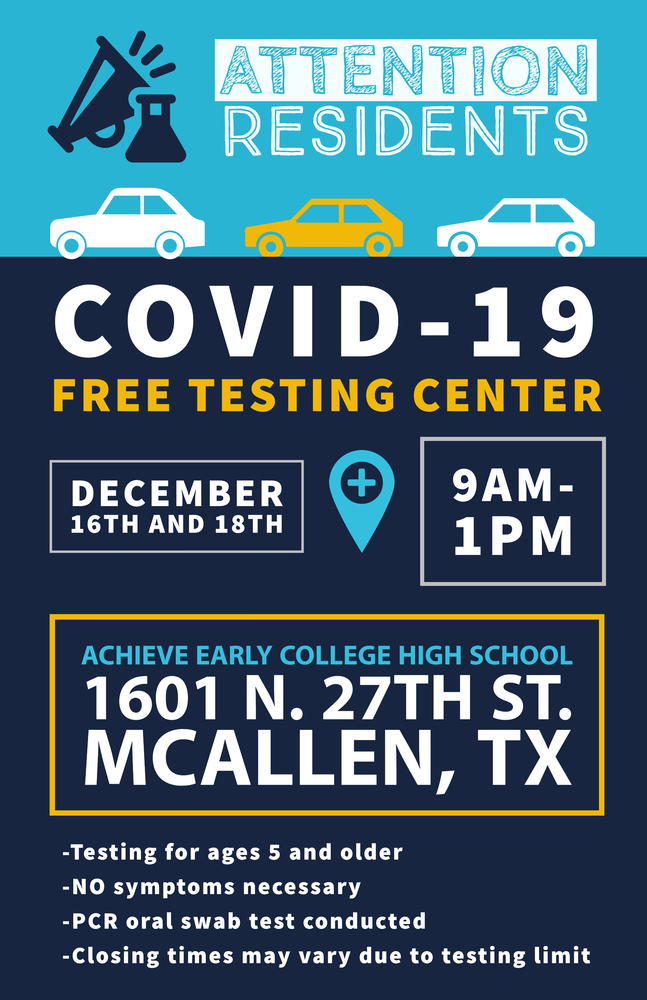 Free COVID-19 testing set for Dec. 16 & 18