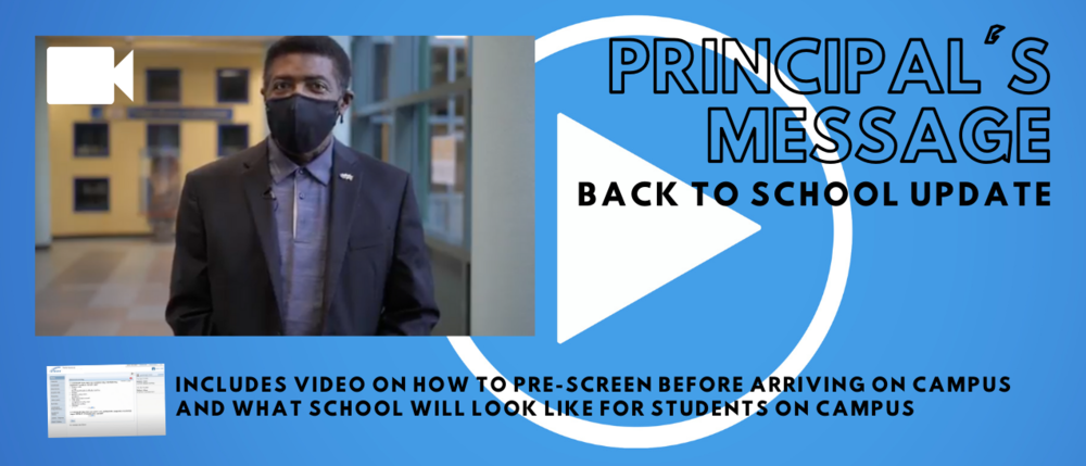Principal's Message:  Back to School Update