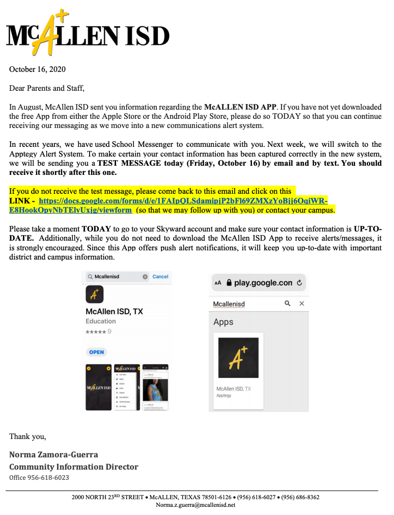 Email from NZGuerra via the Superintendent's email - McAllen ISD letter to parents and staff.