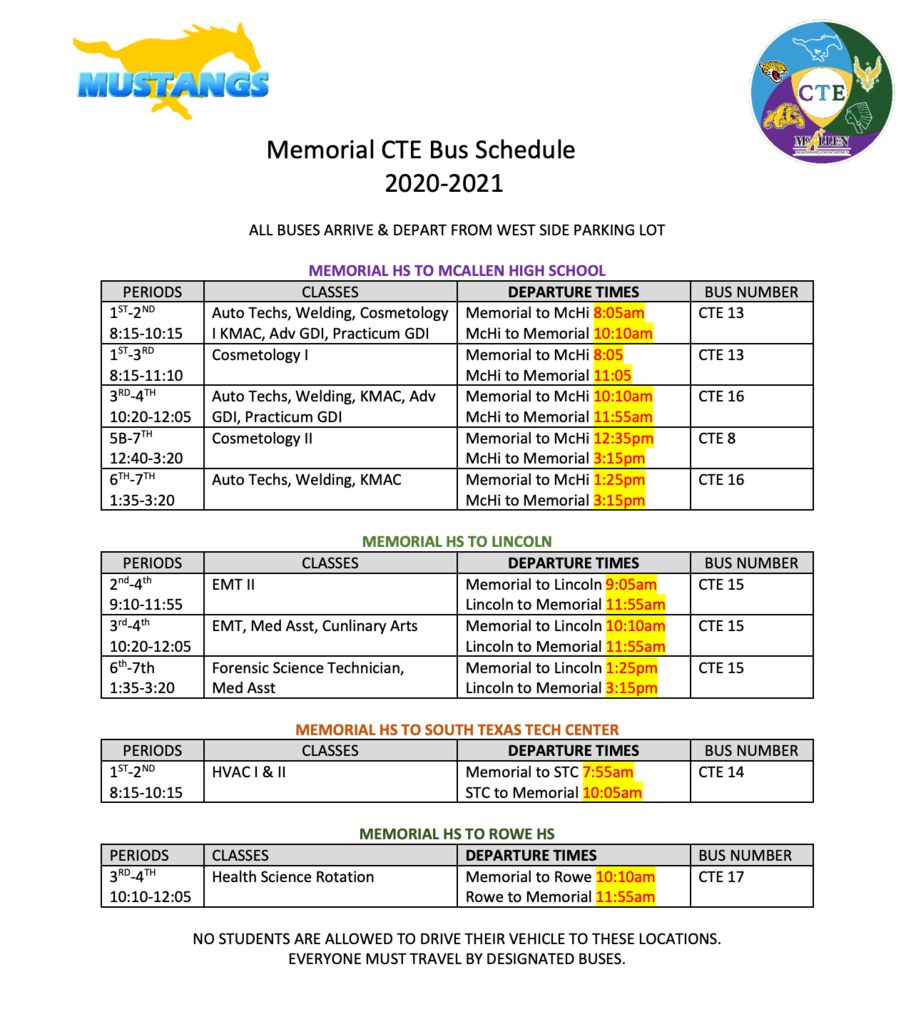CTE Bus Schedule