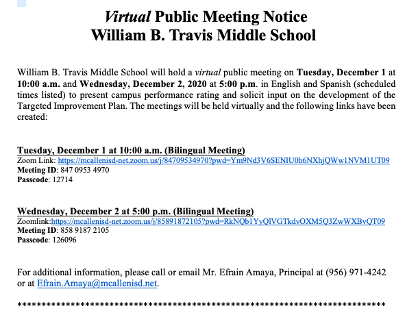 Travis MS Public Meeting