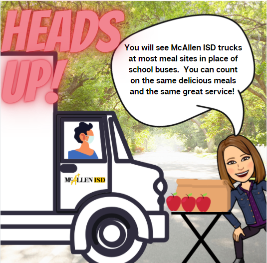 Attention McAllen ISD Community: You may notice there are district trucks at meal sites instead of the usual school buses.  We are getting a little extra support for our meal distribution in this important week before the winter break.  You can still count on the same great meals and the same great service!