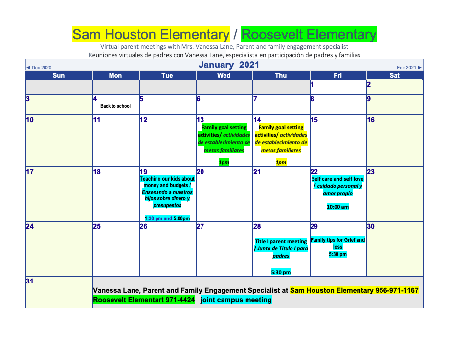 Parental Involvement - January 2021 Calendar