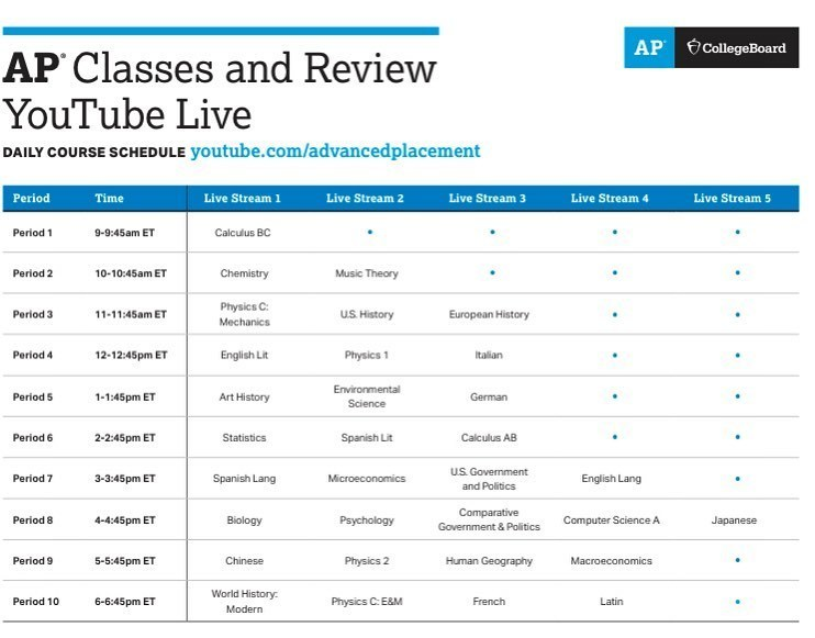 AP Classes and Review YouTube Live schedule
