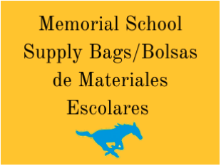 Memorial School Supply Bags/Bolsa de Materiales Escolares